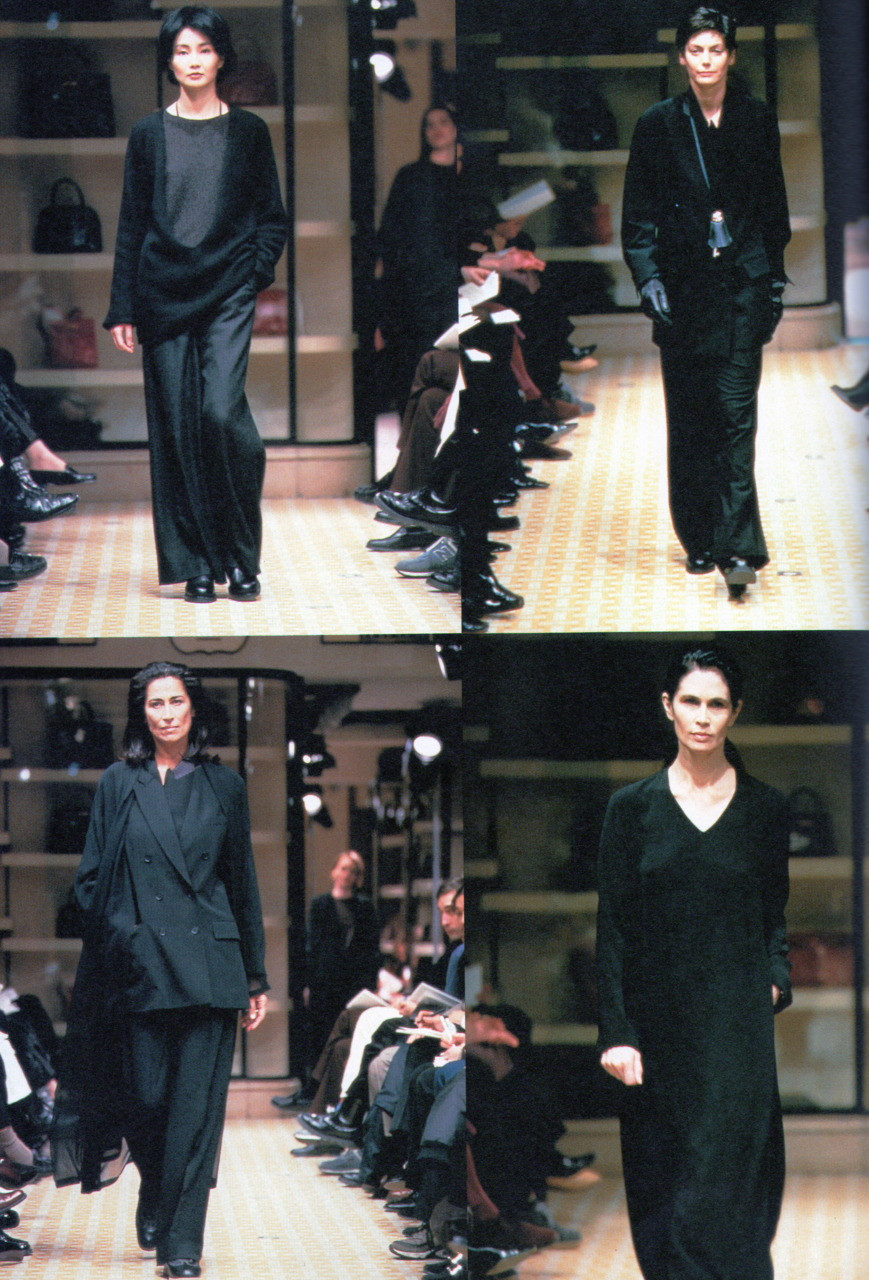 Maggie Cheung walks for Hermès by Martin Margiela, Fall–Winter 1998–1999