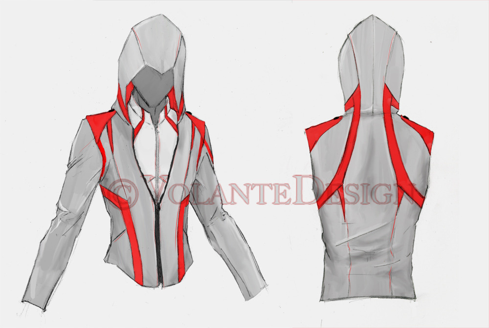 Modern Assassin Armor. To go with the other modern assassin hoodies I've designed. This one I see as a light weight denim with a nice soft lining. He's also wearing an Assassin overshirt that I'm working on.