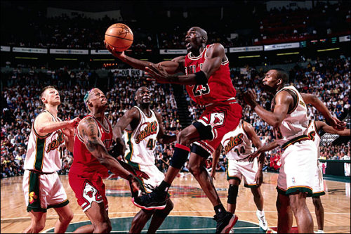 justjordans:  1996 NBA Finals - Bulls vs. Sonics.  OG Breds(sportsbully has video highlights)
