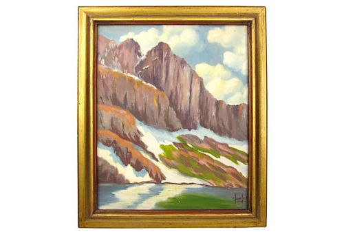 "Mountain cliff landscape by Lou Bowlds. Artist bio attached to back describing, ""painter of Presidents, Kings, Governors, Senators, Generals, and other famous people. Blue ribbon winner in the Marshall Fields Galleries at the Chicago World's Fair."" Inscribed ""for nice people Christmas '76."" 17"" L x 1.5"" W x 20.5"" H by Ruby + George on One Kings Lane Vintage and Market Finds"
