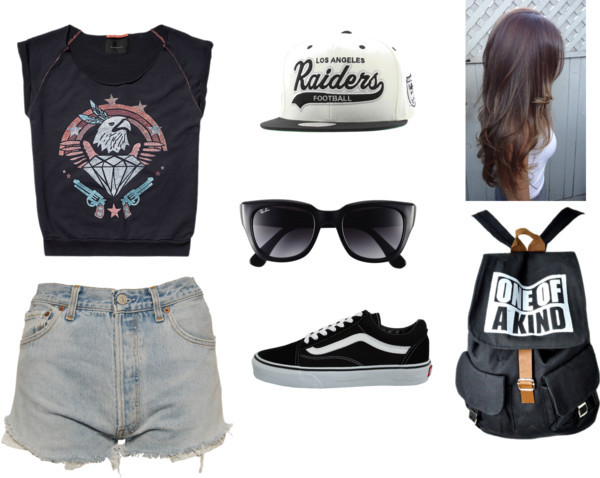 Rebels by efridapuspitasari featuring vans sneakersScotch & Soda sleeveless top, $86 / Levi's levi shorts, $30 / Vans  sneaker / Canvas backpack / Ray-Ban ray ban / Snapback hat