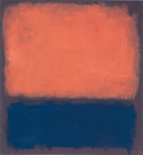 art-library:  Mark Rothko, No. 14, 1960.  Rothko's chromatic abstractionist paintings—consisting of hazy rectangles of pure color hovering in front of a colored background—are compositionally simple but compelling visual experiences.