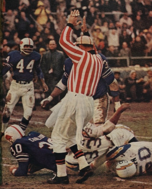 On December 26th 1965, the Buffalo Bills shut out the San Diego Chargers 23-0 to win back-to-back AFL Championships. The game marked the last time a pro football championship was decided in December; the following season would conclude with the first Super Bowl, played in January of 1967.