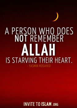 "invitetoislam:  ""A person who does not remember Allah is starving their heart."" — Yasmin Mogahed"