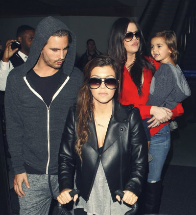 """ain't nobody fresher than my clique…""Scott Disick, Kourtney Kardashian, Khloe Kardashian + Mason arriving at LAX from Miami Sunday…"