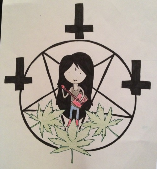 "David asked me to draw him ""some upsidedown cross shit with marceline & weed plants""  So this is what I came up with ha"