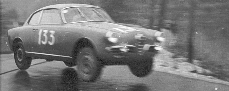 Reblog of the day. Alfa Romeo Giulietta jump. tulipwoodacer , via