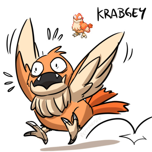 pettyartist:  I Imagine Krabgey to be a very timid and easily-startled pokemon— but when it's content, it blows bubbles like its aquatic relative. u w u