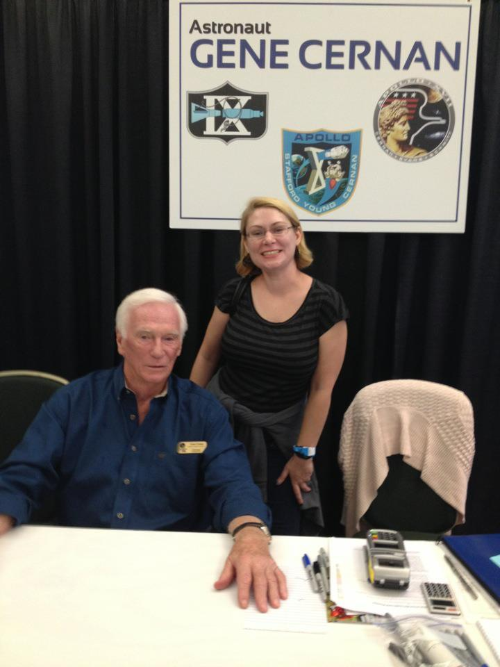 "Gene Cernan and some crazy space groupie at ASF's Autograph Show, Nov. 3. The Last Man on the Moon was walking on the moon 40 years ago today. Best quote from Gene: ""What the hell is a space blog?"" -Upon seeing my blog."