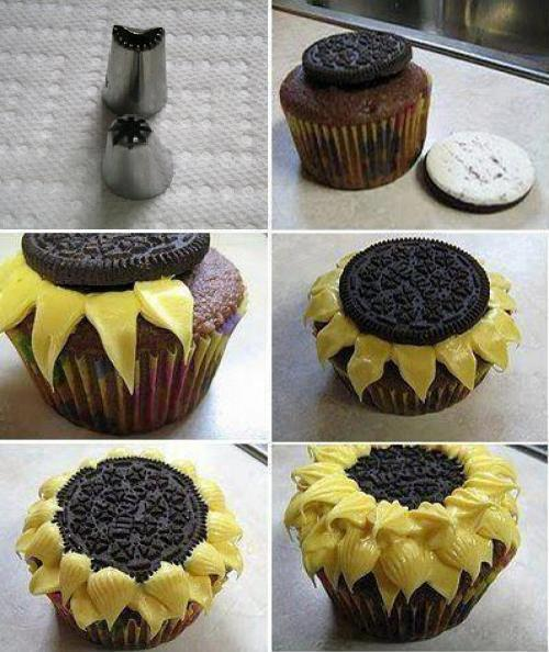 take-me-to-h0gwarts:  Sunflower Cup Cakes | via Facebook on @weheartit.com - http://whrt.it/15O0yij