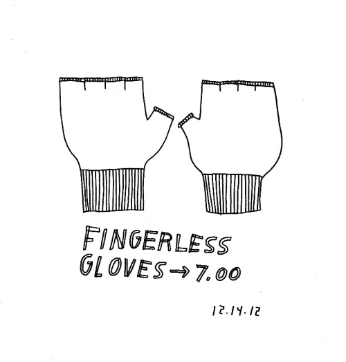 Daily Drawing for 12.14.12  fingerless gloves.