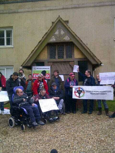 "Yesterday DPAC 'Disabled People Against Cuts' staged a Bedroom Tax peaceful protest outside the 5 bed mansion of Iain Duncan Smith.        Hundreds of people are protesting over the bedroom tax and benefits cap at Lord Freud's £1.9million home and 20 disabled activists are staging a protest at Iain Duncan Smith's country mansion in Buckinghamshire worth more than £2million.  The protest was called by UK Uncut, the anti-cuts direct action network, who promised that they would 'bring resistance to the homes of high profile politicians pushing the cuts'. Lord Freud, the Tory peer and former investment banker, has spearheaded the bedroom tax, cuts to the Welfare State and the introduction of the Universal Credit. He also has an eight-bedroom mansion in Kent.  The disabled activists, from Disabled People Against the Cuts, have presented Iain Duncan Smith with an eviction notice at his five-bedroom, 16th century house which includes a swimming pool in Swanbourne. IDS has presided over the implementation of unprecedented cuts of the Welfare State which are hitting disabled people particularly hard. It's recently emerged that 17,000 blind people will be hit by the bedroom tax. Houses are likely to have been specially adapted and blind people are particularly isolated if they are forced to move to new areas which they do not know how to get around.  At the London protest at Lord Freud's house, an estimated 400 people attended the protest where children were read a Freudian bedtime story, a removal van unloaded sofas and an eviction notice was served. UK Uncut supporter Sarah Knight whose mother is losing money because of the Bedroom Tax said: ""My mum has just found out that she will have to pay the bedroom tax. My family is terrified about what's going to happen. People's hearts are being broken as this government is turning Thatcher's wildest dreams into a nightmarish reality. But this protest is not about Thatcher's death, it's about the ongoing assault on the welfare state.  ""I am too young to remember Thatcher as a Prime Minister but people like me are having our childhoods and now adult lives decimated by this government that continues to punish poorer people to improve the lives of the rich – the bedroom tax is the latest example of this. And that's why I'm here today – it's made me really happy that we are resisting these devastating cuts, showing we will not stand for it.""  From outside Ian Duncan Smith's country mansion Disabled People Against the Cuts activist Eric Robson said: ""This month sees the latest round of government attacks on disabled people. Two out of three homes affected by the bedroom tax have disabled people living in them, the beginning of the end for DLA, council tax changes, no legal aid for benefit appeals and the ongoing discredited WCAs mean millions of disab"