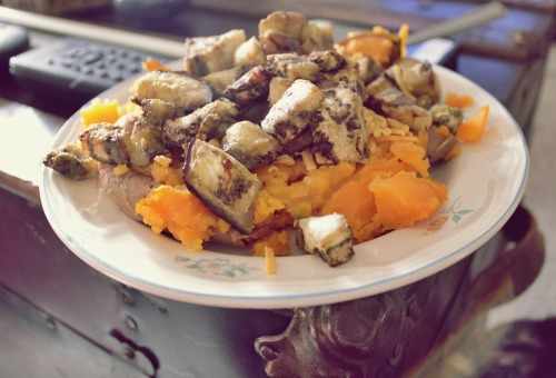 Dinner! Roasted eggplant and Sweet potato.