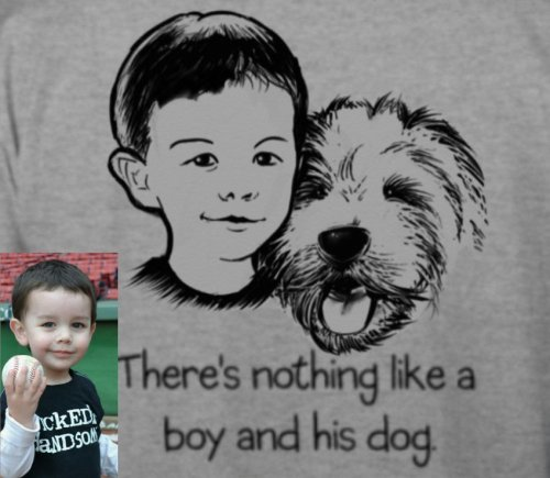"I did a shirt! This fellow here is my pal Jacob.  He needs a service dog to help him out. If you head over to this link and buy a shirt, let me know and I'll draw whatever ridiculous thing you want.  Even ""OneDirection.""  I'll post it here and you can reblog it, alerting your followers to your heroism and good taste."