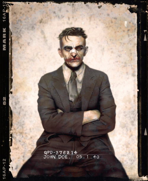 deervision:  Inspired from the dapper criminal mugshots from the 1920's, artist Jason Mark re-imagines batman villains in a vintage mugshot series called The Usual Suspects.