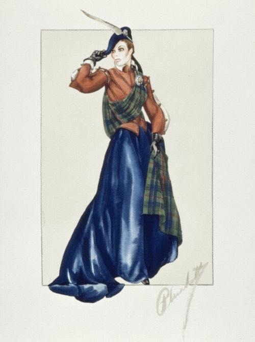 Costume design by Walter Plunkett for Katharine Hepburn in Mary of Scotland (1936). From LACMA