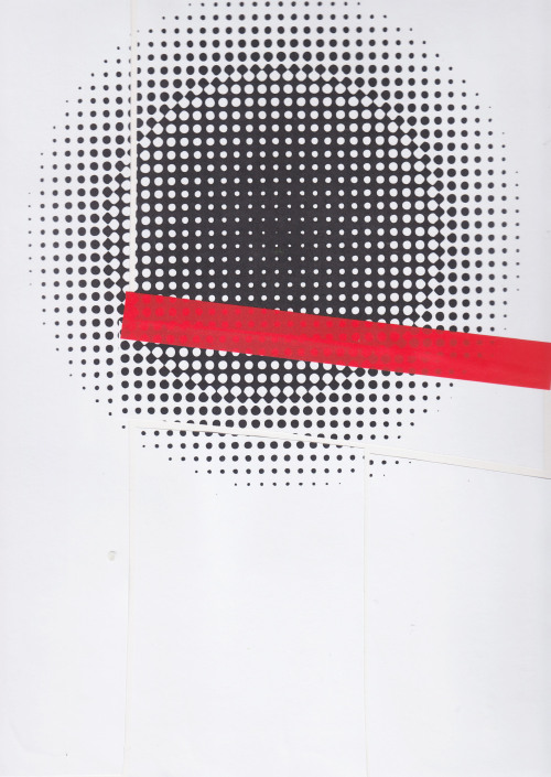 'nuclear red repaired' by diagramism, cut pre-printed paper and red tape