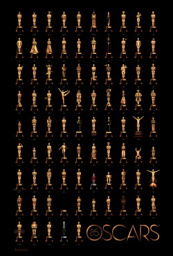 85 Years of Oscars poster by Olly Moss The Academy has just revealed 84 different Oscar statuettes inspired by past winners and created by artist Olly Moss for a special edition poster for this year's Oscars. The poster, which collects all 84 images (plus a new one for this year's winner) is on sale now right here. Moss designed the commemorative poster in collaboration with Gallery1988 and the final poster will feature 85 Oscar statuettes once the winner of this year's Oscars is announced on February 24.