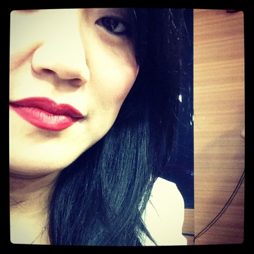 SPOTTED – Our lead makeup artist, Grace Lee, rocking Deepest Cherry lipstick!