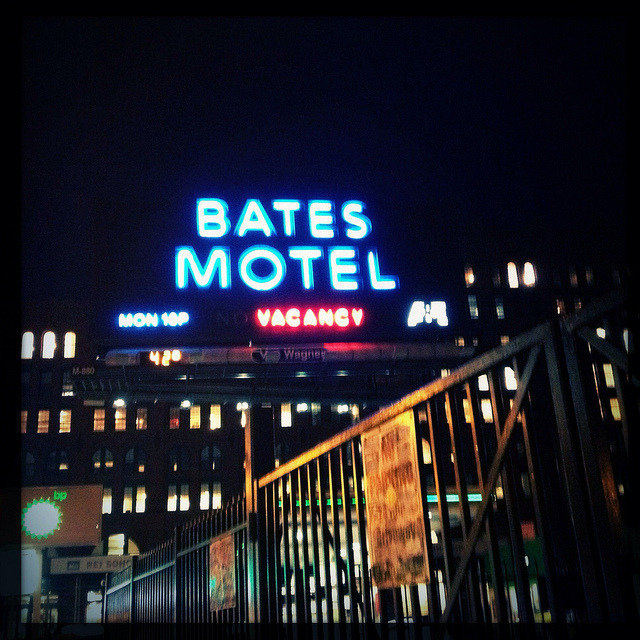 bates motel on houston. on Flickr. The Bates Motel billboard lights up Houston Street as you exit the Broadway Lafayette station. Quite the promo for the new A&E show.