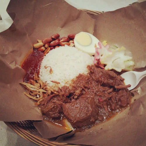Nasi lemak with beef rendang from Warong at the new Rundle Place   #warong #nasilemak #malaysian #rundleplace #beef #rendang #foodstagram #instafood #food #foodpic #foodie #foodieling