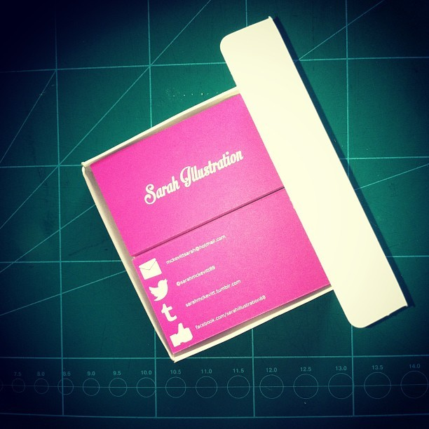 My new business cards have arrived :) #pink  #sarahillustration  #businesscards