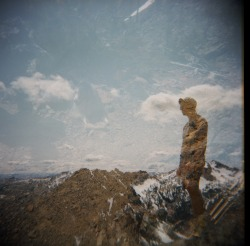 jhpearce:  Holga 2Xposure courtesy of Suza. Me gazing across Ingalls Creek drainage at Mt. Stuart from Longs Pass. Note: Domino/my angel in the clouds.  Happy accident.