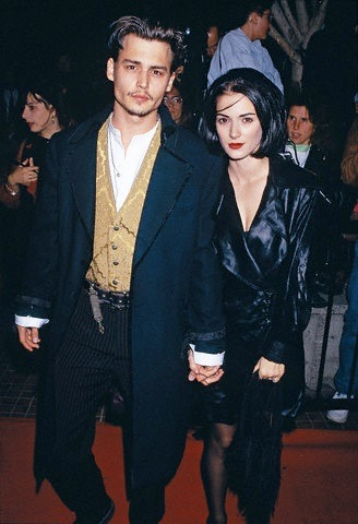 Actor Johnny Depp and actress Winona Ryder arrive at the premiere of Edward Scissorhands. This photo appears on page 89 in Frank Trapper's RED CARPET book 1990