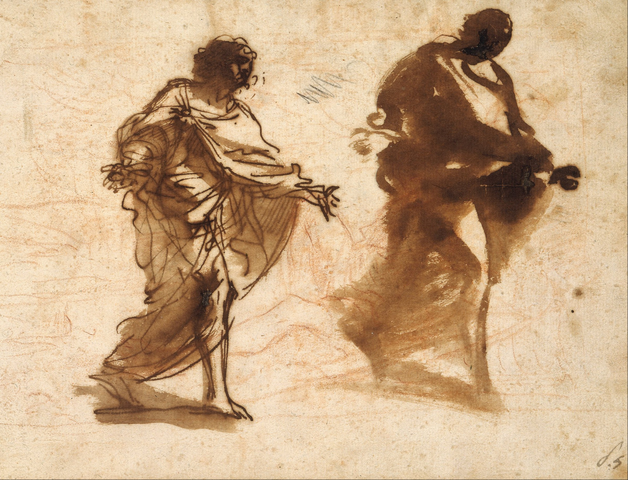 Pier Francesco Mola (It.1612-1666), Two studies for the figure of Joseph