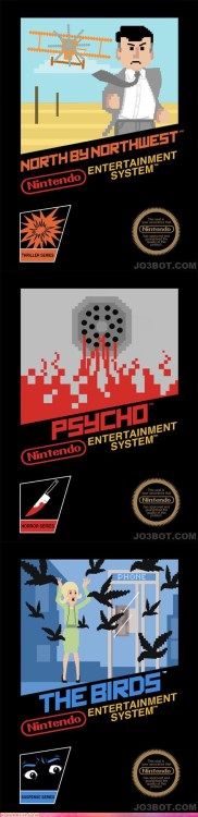 If Alfred Hitchcock movies were NES games #Nintendo