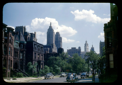 Kodachrome looking south on Wabash from Erie, 1948, Chicago