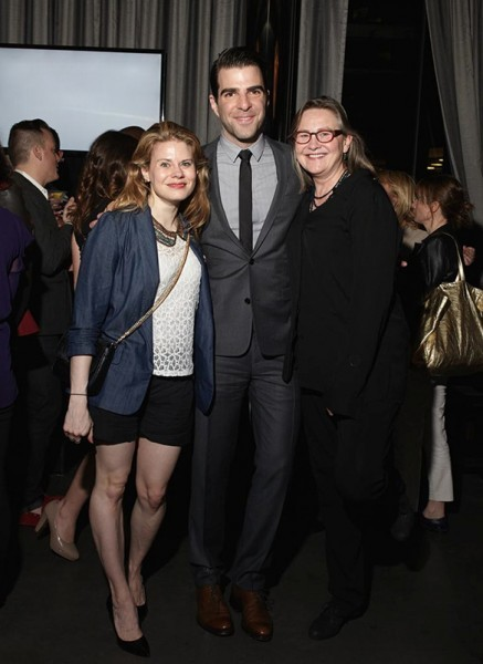 Zachary Quinto with Celia Keenan-Bolger and Cherry Jones, Manhattan Magazine Men's Issue Party