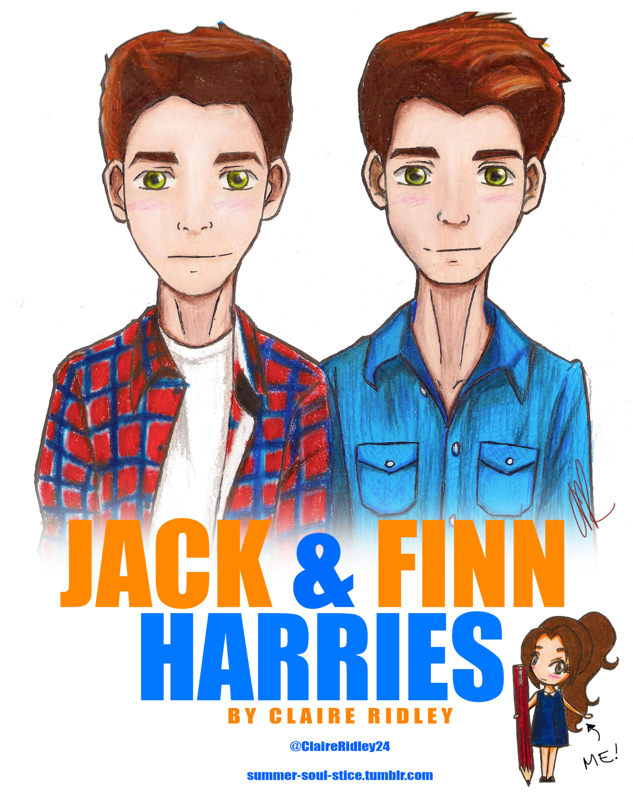 summer-soul-stice:  My drawing of Jack & Finn Harries! Hope you like it :) It is based on a real photo of them :) I'm not 100% happy with it, more like 75% but I tried.. If you decide you want to steal my drawing…
