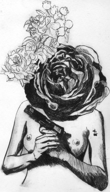 Guns and roses, drypoint engraving 2012.