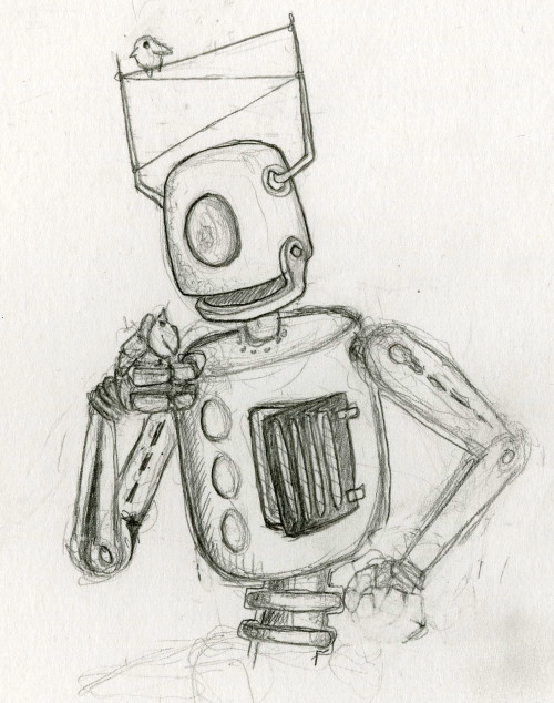 A rough sketch of a robot and his bird buddies.