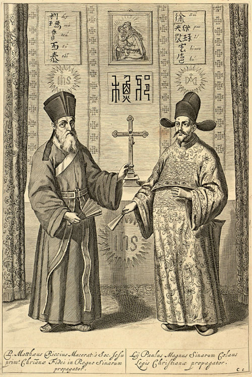 ffactory:  [Matteo Ricci and Paul Xu Guangqi, from La Chine d'Athanase Kirchere de la Compagnie de Jesus: illustre de plusieurs monuments tant sacres que profanes: Amsterdam, 1670] The missionary efforts of the Society of Jesus between the 16th and 17th century form a central part of the relations between Confucianism and Christianity. In 1582, Italian Matteo Ricci introduced aspects of Western science, maths, astronomy and art to the Chinese imperial court, establishing a dialogue with representatives of Confucianism. Several Jesuits subsequently became close advisers to the Emperor and held prestigious positions in the imperial government. Vice versa, several Confucian scholars contributed to the impact of Christian Jesuit culture in China.