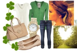 St. Patrick's Day: Day Look by pwalll featuring current elliott jeansFRIENDLY HUNTING cashmere v neck cardigan, $300 / H&M v neck t shirt, $11 / Current/Elliott current elliott jeans, $215 / Tory Burch ballet flat shoes / Tory Burch leather tote bag, $690 / Marc by Marc Jacobs bangle watch, $280