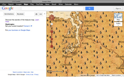 Look Google Maps is a treasure map! Hahaha April Fools is funny!