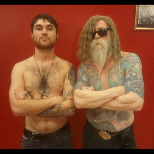 @galactitron And #rayyoungman At #missingpiecetattoo In #downtownspokane #spokane #tattooers #tattooists #artists #tattoofamilyyoungman #truetattooers #truetattooists (at Missing Piece Tattoo)