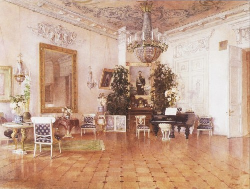 ohsoromanov:   Interiors of the House  of the Governor of Moscow Grand Duke Sergei Alexandrovich  ↳ The White Living Room (painting by V. P. Trofimov).