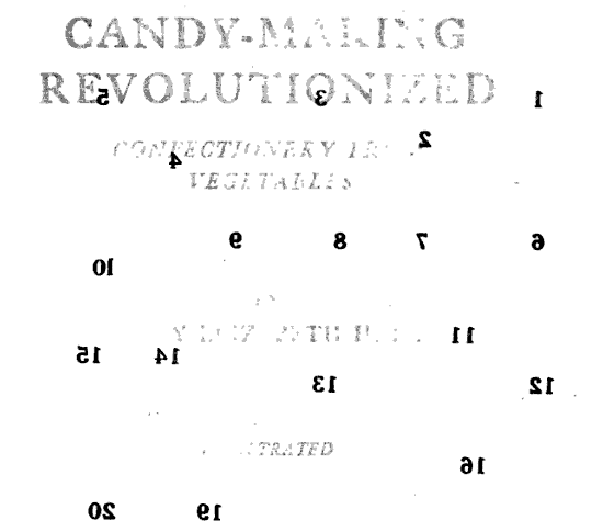 Title page, though recto of tissue covering previous plate. From Candy-making Revolutionized: Confectionery from Vegetables by Mary Elizabeth Hall (1912). Original from the University of California. Digitized December 12, 2007.