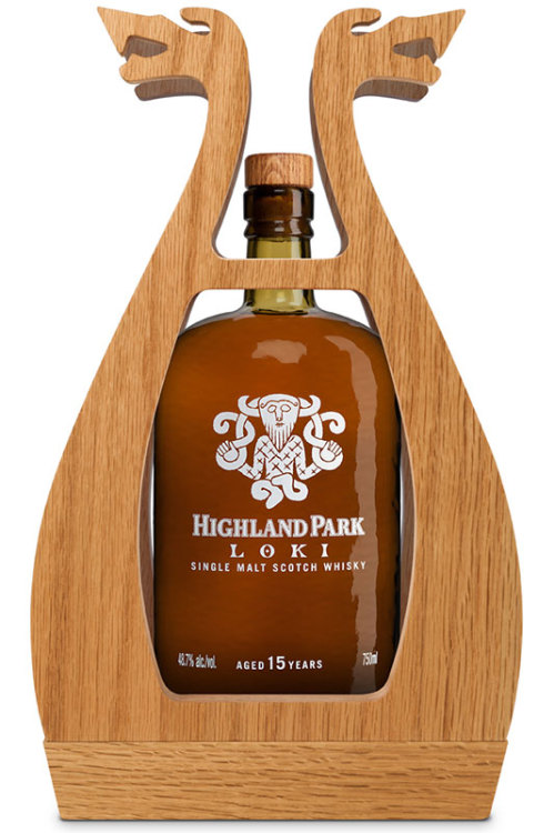 "perfumedspirits:  Highland Park Loki The mischievous Norse god embodied in a complex 15-year-old single malt Inspired by the mischievous and mercurial Nordic god, the amber liquid of the newly released Loki seems to capture the unpredictable shape-shifting nature of its namesake. Matured in both Spanish sherry and heavily peated casks, the flavors offer sweetness and spice with a layer of smoke that distinguishes the Loki bottling from classic Highland Park whiskies. ""The whisky transforms itself through nosing and tasting into a classic Highland Park expression but with a twist. From citrus on the nose to the puff of smoke on the tongue then a glorious combination of fruit and vanilla on the finish, Loki is a testament to the skill of Highland Park's whisky maker Max McFarlane,"" brand ambassador Martin Daraz tells us. Following Thor as the second of four rare whisky offerings in the Valhalla Whisky of the Gods series from Highland Park, Loki comes housed in the same wooden frame resembling a Viking long ship that helped its predecessor sell out rapidly. The northernmost distillery in Scotland, Highland Park was established in 1798 on the remote isle of Orkney—a fitting setting for this seafaring package. Though the Nordic god Loki was known for creating discord and distraction among the Nordic gods, this Loki is more likely to put a smile on the faces of whisky collectors around the world."