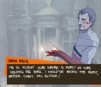 lyricalt:  Persona 4 AU where Shadow Malik is bloodthirsty, self-absorbed, and gives no fucks. :) He'd be the Strength arcana, btw, though probably not much of a boss battle if he figures out how the Shadows turn into monsters. >_>