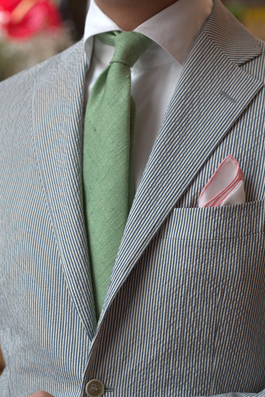 Garden party: Summer Seersucker by Ring Jacket in 184 Pastel Green Silk Tussah by Drake's at the ArmouryPink Shoestring Linen Hank by Simmonot Godard