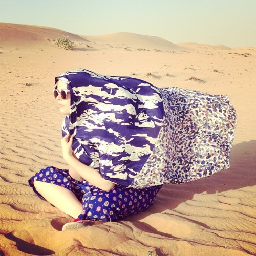Indie takes on the Sahara, scarf by @clubmonaco #indieindubai GET MORE: www.instagram.com/fashionindie