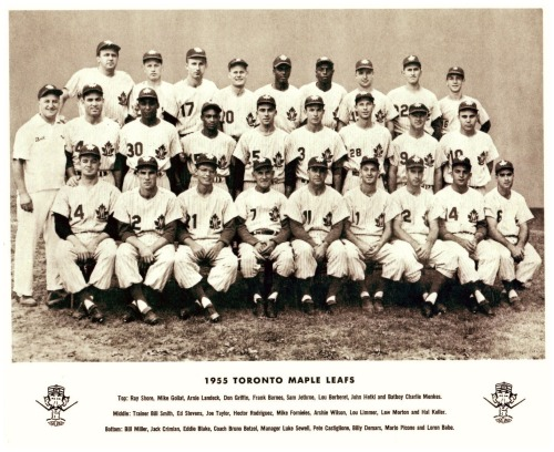 1955 Toronto Maple Leafs TeamNot only was there a Maple Leafs NHL hockey team that we all know of, but there was a Toronto Maple Leafs baseball team as well. They played in the AAA International League until 1967. Gotta love the handlebar moustache on that mascot logo!