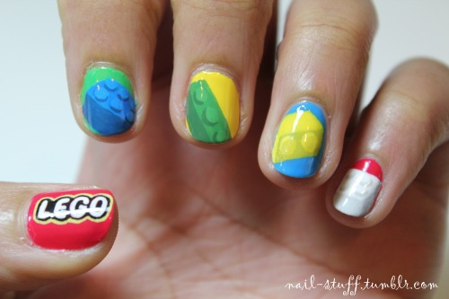 Lego nails! I got a request to do these and I thought they were a really good idea! It makes me wonder why I haven't thought of doing these earlier haha For the most of the backgrounds I used That's Totally Red-ical by Nicole by OPI, Almost Famous by Color Club, and Lime by Claire's