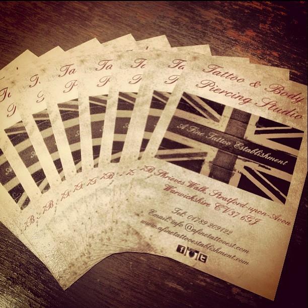 New flyers have arrived… #afinetattooestablishment #afte #stratforduponavon #stratforduponavontattoo #tattoo #tattoos #tattooshop #tattoostudio #piercings #piercingstudio #bodypiercing #tattooer #tattooartist #warwickshire #midlands #uktattoo #englandtattoo #unionjack #sepia #vintage #studio #shop #classy #smart  (at A Fine Tattoo Establishment)