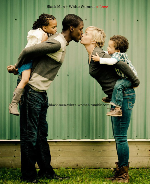 black-men-white-women:  Beautiful Interracial Family . Check their kids expressions :)
