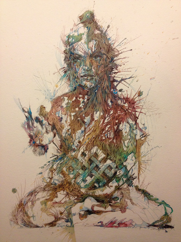 Meditate by Carne Griffiths Ink and tea on 850gsm Arches Aquarelle, incorporating floral elements.  Showing with Ink-d gallery at the London Art Fair 2013